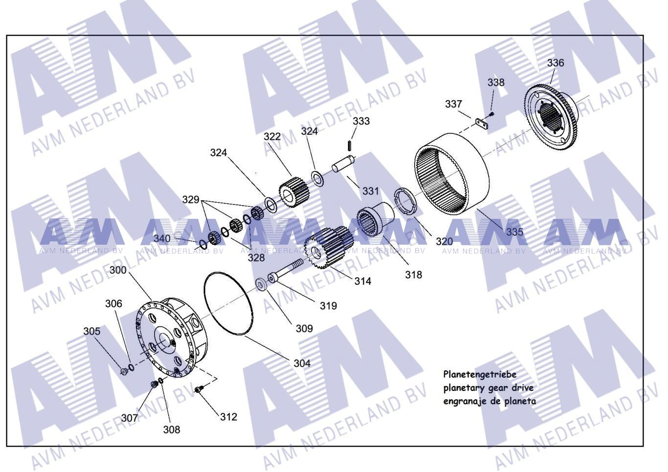 Tekening Eindplanetair 4p PL324-3217-67-1 Kessler
