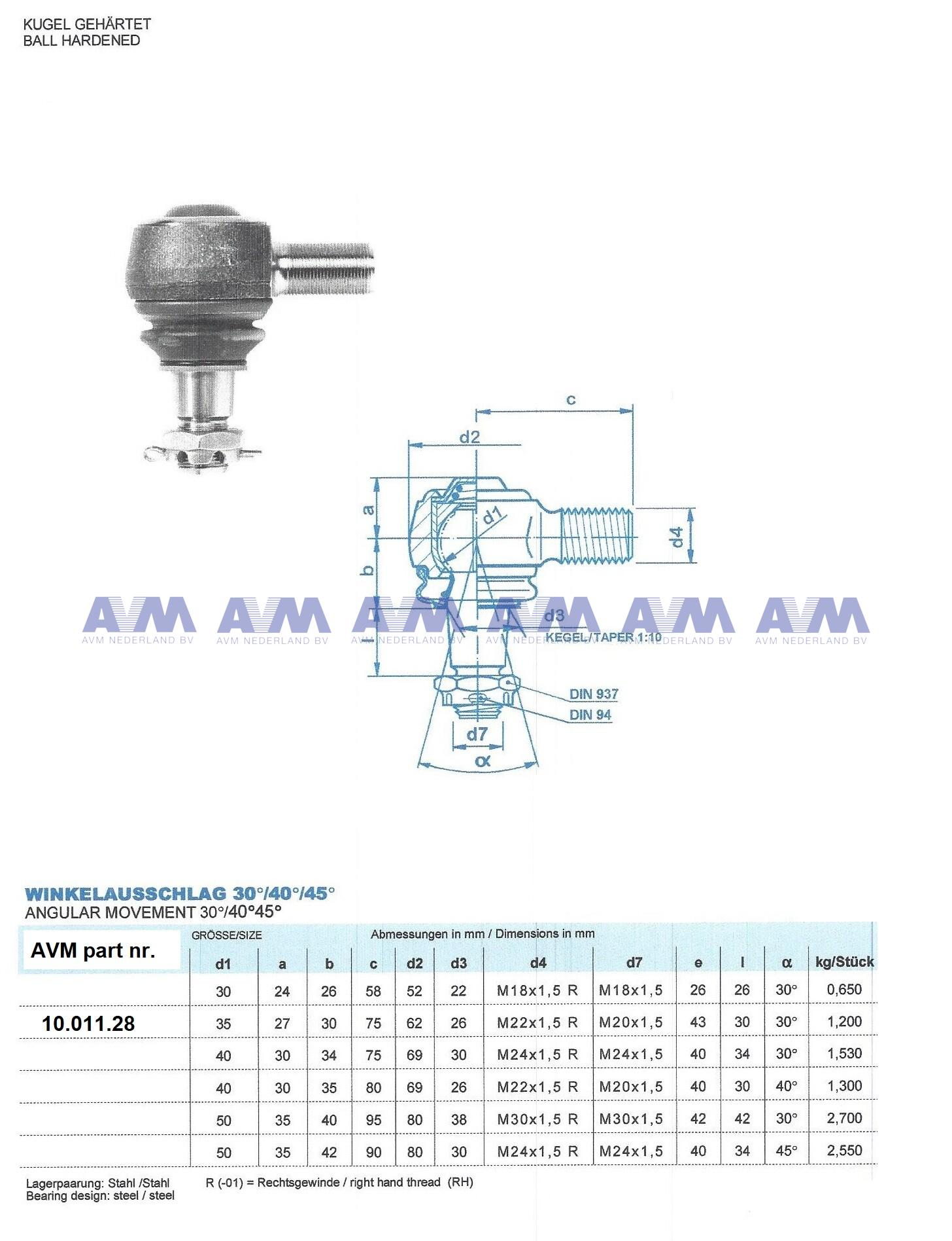 Ball joint AH32-1HZF35x25 -01 Heyd