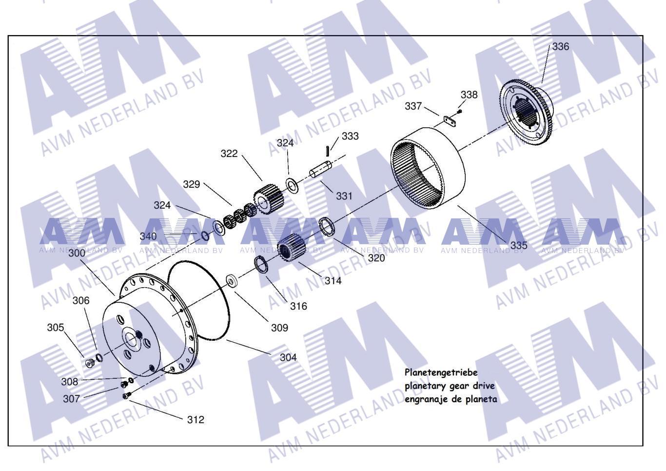 Tekening Eindplanetair 3p PL321-3821-63-1 TEK Kessler